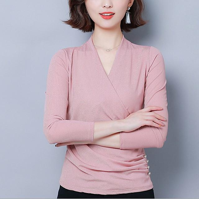 Ballroom Dance Top Glitter Women's Training Daily Wear Long Sleeve Polyester