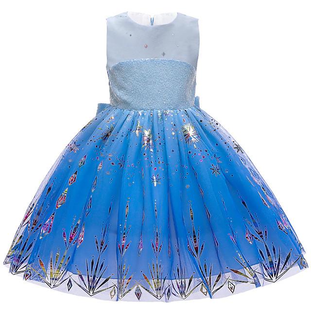 Princess Elsa Dress Flower Girl Dress Girls' Movie Cosplay A-Line Slip Blue Dress Christmas Halloween Children's Day Polyester