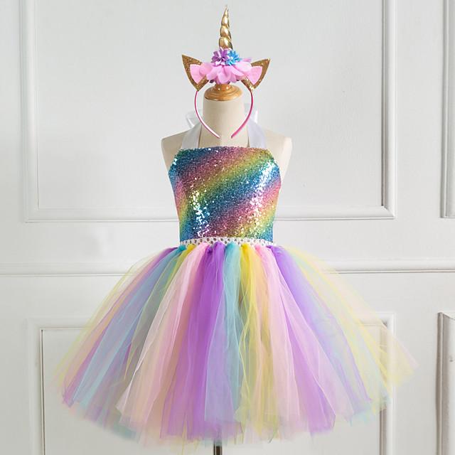 Unicorn Cosplay Costume Costume Girls' Movie Cosplay Tutus Vacation Dress Golden / Silver / Rainbow Dress Headwear Christmas Halloween Carnival Polyester / Cotton Polyester
