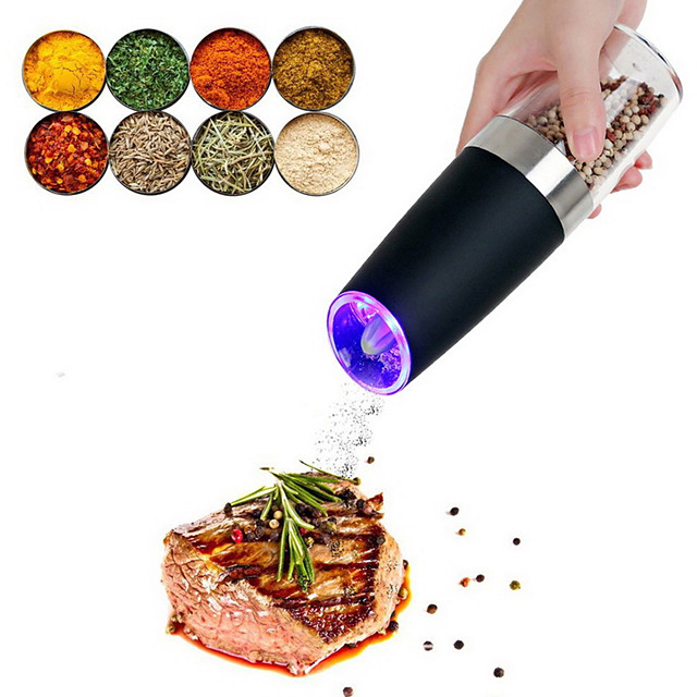 Electric Salt and Pepper Grinder Stainless Steel Pepper and Salt Mill with  LED Light Perfect for Different Cooked Food