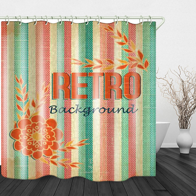 Vintage Fabric Digital Print Waterproof Fabric Shower Curtain For Bathroom Home Decor Covered Bathtub Curtains Liner Includes With Hooks