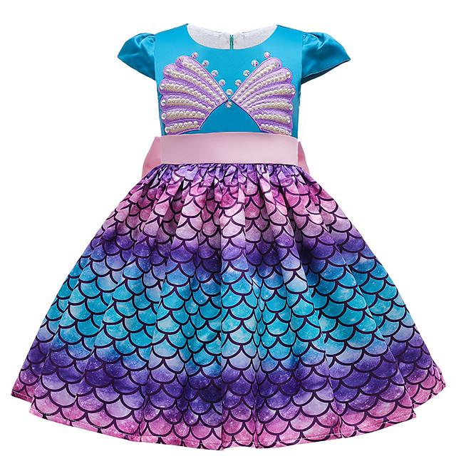 The Little Mermaid Princess Dress Flower Girl Dress Girls' Movie Cosplay A-Line Slip Blue Dress Halloween Children's Day Masquerade Polyester