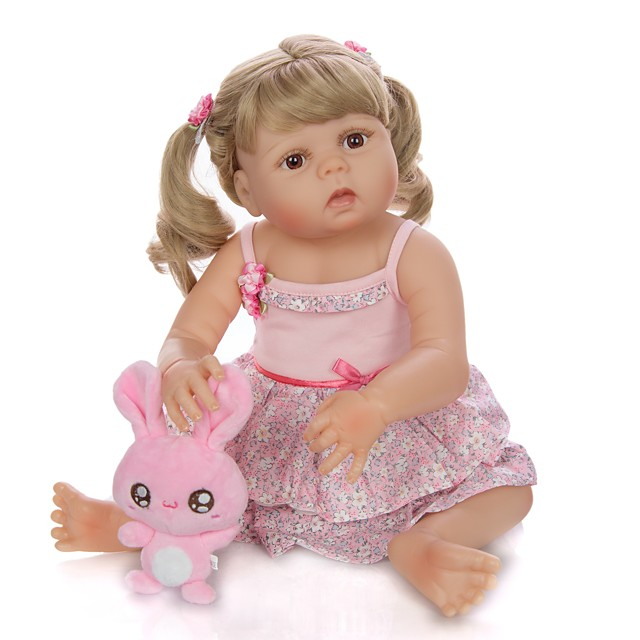KEIUMI 22 inch Reborn Doll Baby & Toddler Toy Reborn Toddler Doll Baby Girl Gift Cute Washable Lovely Parent-Child Interaction Full Body Silicone KUM23FS04-WGW08 with Clothes and Accessories for