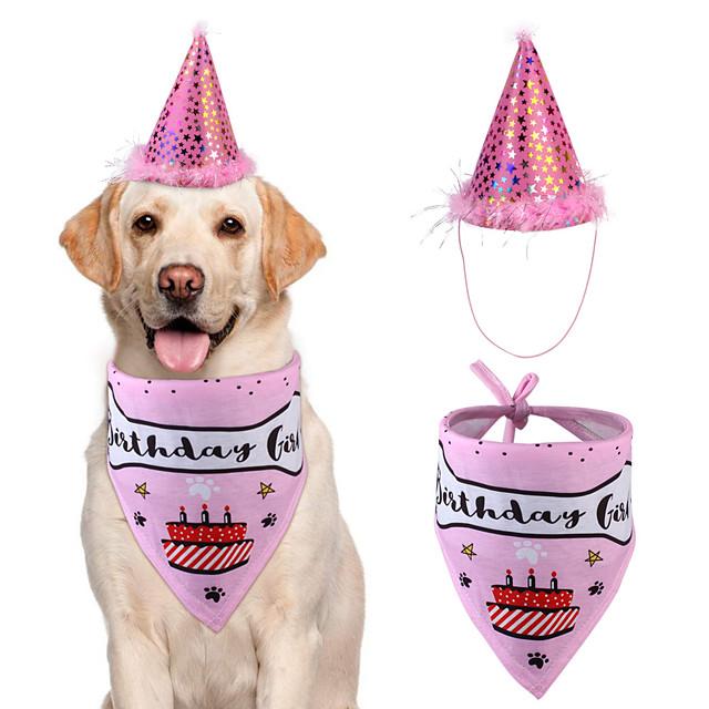 Dog Cat Bandanas & Hats Dog Bandana Dog Bibs Scarf Cartoon Letter & Number Casual / Sporty Cute Christmas Birthday Dog Clothes Adjustable Blue Pink Costume Cotton M