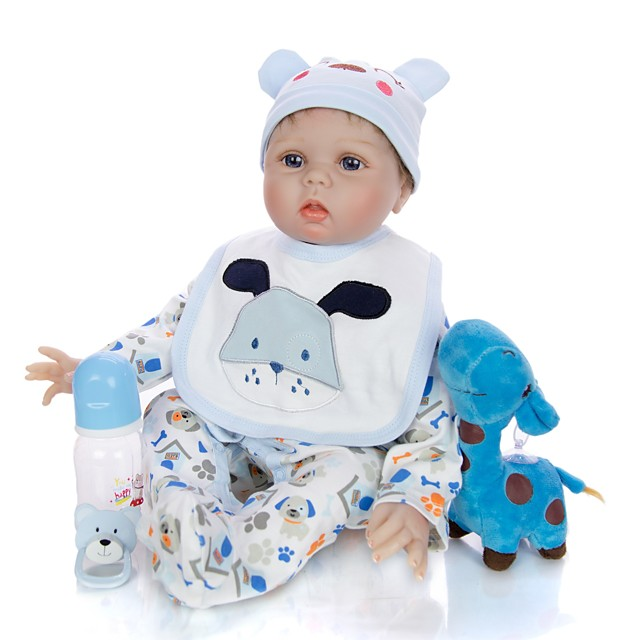 KEIUMI 22 inch Reborn Doll Baby & Toddler Toy Reborn Toddler Doll Baby Boy Gift Cute Lovely Parent-Child Interaction Tipped and Sealed Nails Half Silicone and Cloth Body with Clothes and Accessories