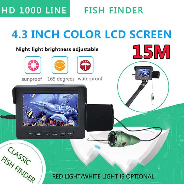 15M 1200TVL Fish Finder Underwater Fishing Camera 4.3 inch Monitor 6PCS 6W IR LED Night Vision Camera For Fishing
