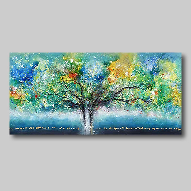 Oil Painting Hand Painted - Abstract Abstract Landscape Comtemporary Modern Large Rolled Canvas Trees Green