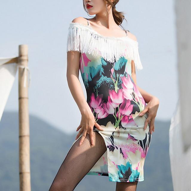 Latin Dance Dress Tassel Split Pattern / Print Women's Training Daily Wear Short Sleeve Ice Silk Cotton