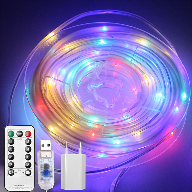 10M 100 LEDs Casing Waterproof String Lights  1 13Keys Remote  Controller  Configurable US EU UK Plug   RGBWarm Waterproof Outdoor USB 5 V Party Night Light 1 set