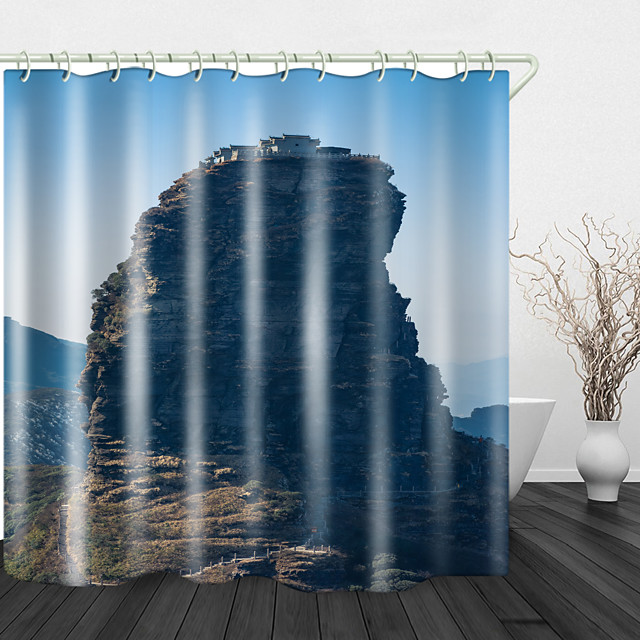 Spectacular Pinnacle View Digital Print Waterproof Fabric Shower Curtain For Bathroom Home Decor Covered Bathtub Curtains Liner Includes With Hooks