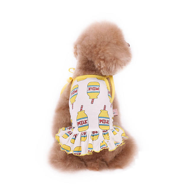 Dog Dress Pajamas Cartoon Casual / Sporty Cute Party Casual / Daily Dog Clothes Breathable Yellow Costume Cotton XXXS XXS XS S M L