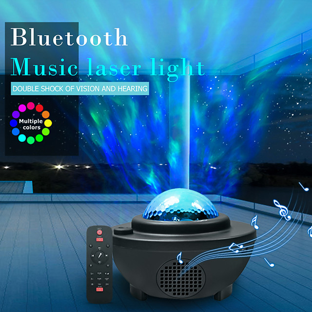 LITBest Bluetooth Music Laser Light Projection 10 Color Mode Lamp LED Star Projector Night Light Galaxy Starry Lamp Ocean Wave Projector Speaker Remote Control Room Atmosphere Party Light