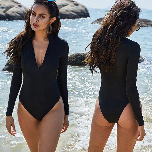 Women's One Piece Swimsuit Spandex Swimwear Bodysuit Quick Dry Stretchy Long Sleeve Front Zip High Neck - Swimming Surfing Water Sports Solid Colored Summer
