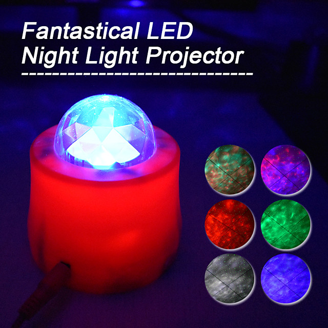 Car Home Ambient Lights LED Projector Lamps Remote 7 Mode Lighting Shows 3 speed Relaxing Soothing Starry sky Ocean sky Moon light Water pattern laser Stage light Night light for Baby Kids Adults