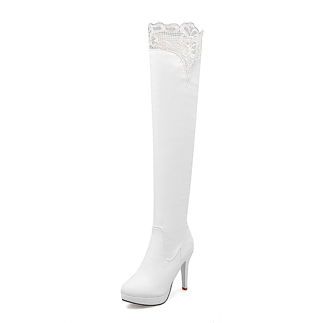 Women's Boots Stiletto Heel Boots Stiletto Heel Round Toe Over The Knee Boots British Party & Evening Outdoor Walking Shoes PU Lace Solid Colored White Black