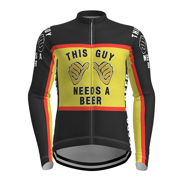 21Grams Men's Long Sleeve Cycling Jersey Polyester Black Novelty Oktoberfest Beer Bike Jersey Top Mountain Bike MTB Road Bike Cycling Breathable Quick Dry Reflective Strips Sports Clothing Apparel