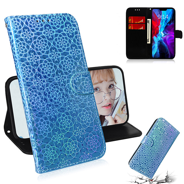 Case For Apple iPhone 6 6s 6p 6sp iPhone 7 7P 8 8P iPhone X iPhone XS iPhone XR iPhone XS max iPhone 11 11 Pro 11 Pro Max Card Holder Flip Full Body Cases Lines  Waves  Solid Colored PU Leather