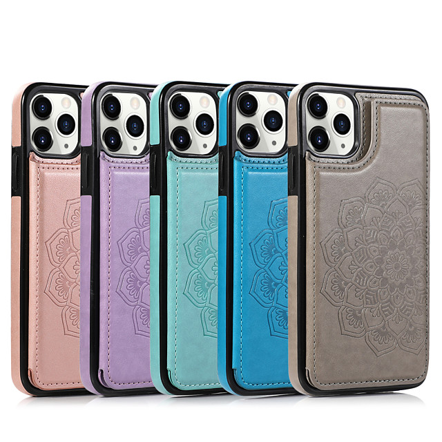 Case Apple Case For iPhone 6 6s 7 8 6plus 7plus 8plus XR XS XSMAX X SE 11 11Pro 11ProMax Embossed Back Cover Solid Colored PU Leather TPU