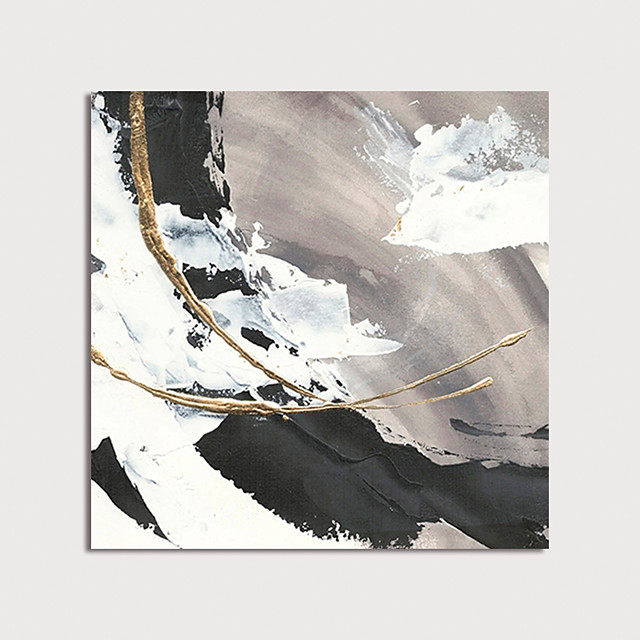 Oil Painting Paint Handmade Abstract Canvas Art White-back Gold Foil Modern Art with Stretcher Ready to Hang With Stretched Frame