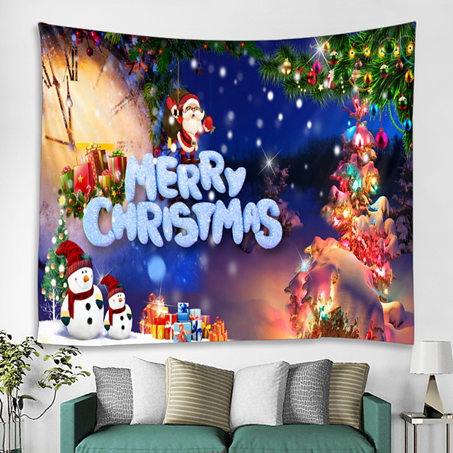 Merry Christmas Wall Hanging Tapestry Christmas Festival Interior Art Wall Ornament Cottage Tree Leaves Santa Claus Decor