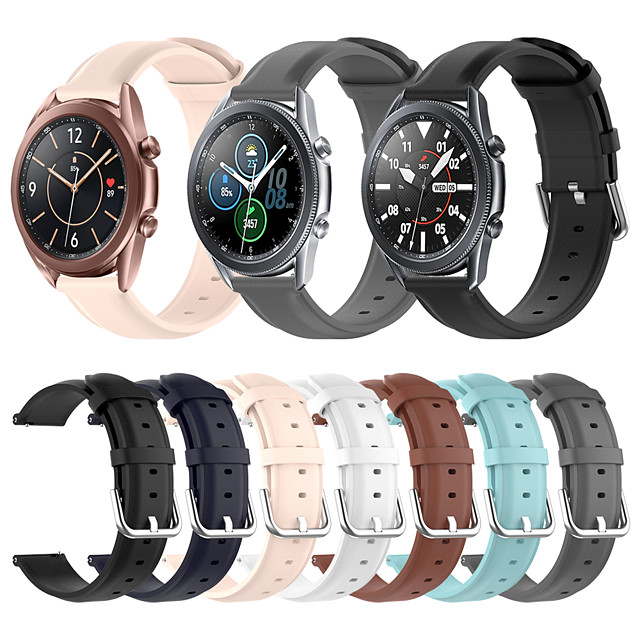 Soft Leather Watch Band for Samsung Galaxy Watch 3 45mm 41mm / Galaxy Active 2 40mm 44mm / Galaxy Watch 46mm 42mm / Gear S3 Classic Frontier / Gear Sport / Gear S2 Classic Bracelet Wrist Strap