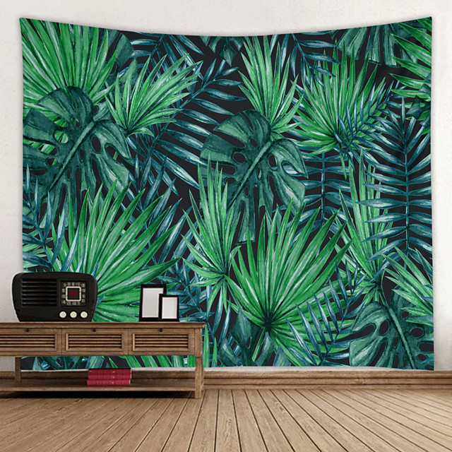 Green Big Leaf Digital Printed Tapestry Classic Theme Wall Decor 100% Polyester Contemporary Wall Art Wall Tapestries Decoration