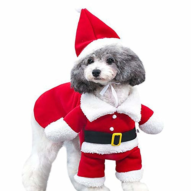 christmas cat costumes two legs with cap, santa claus suit dog costume dress up, cats jumpsuit winter coat warm clothes