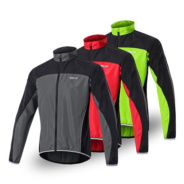 Arsuxeo Men's Cycling Jersey Spandex Polyester Bike Jersey Top Waterproof Windproof Breathable Sports Dark Grey / Black / Red / Green Mountain Bike MTB Road Bike Cycling Clothing Apparel Loose Bike
