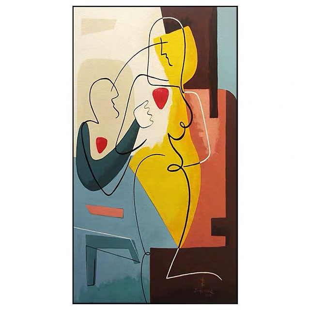 100% Hand painted Pablo Picasso Style Oil Painting on Canvas Cuadros Posters Wall Picture for Living Room Decor Rolled Without Frame