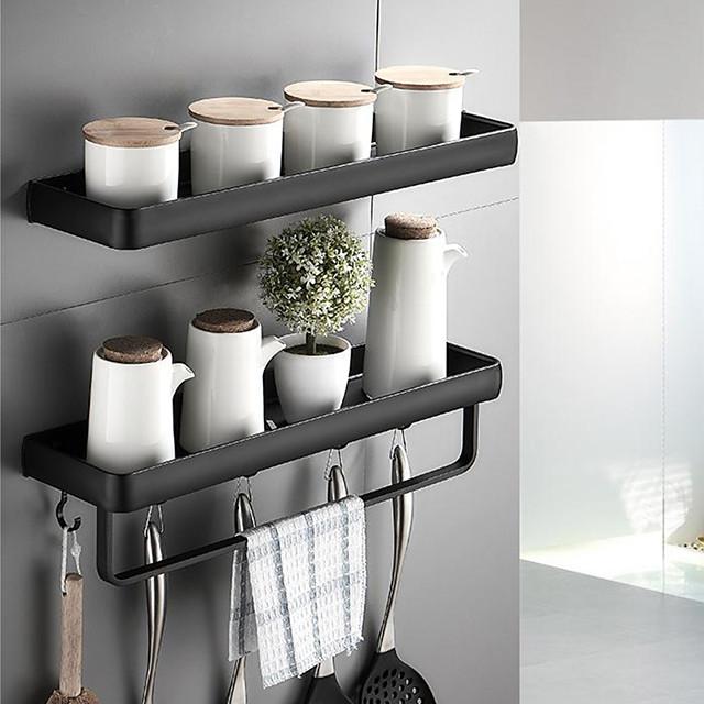 30cm Kitchen Bathroom Shelf Bath Shower Shelf Aluminum Black Bathroom Corner Shelf Wall Mounted Black Aluminum Kitchen Storage Holder