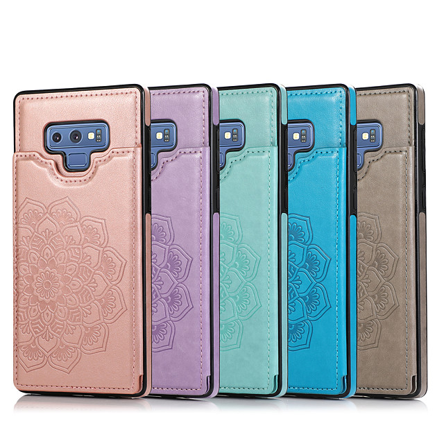 Case For Samsung Galaxy Galaxy Note8 Note9 Note10 Note10plus Embossed Back Cover Solid Colored PU Leather TPU
