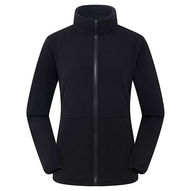 Women's Hiking Fleece Jacket Winter Outdoor Solid Color Thermal / Warm Windproof Thick Top Fleece Full Length Visible Zipper Outdoor Exercise Back Country Mountaineering Violet / Black / Red