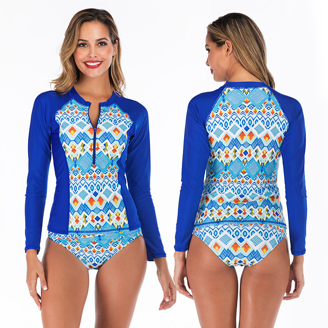 Women's Rashguard Swimsuit Swimwear Breathable Quick Dry Long Sleeve 2-Piece Front Zip - Swimming Surfing Water Sports 3D Print Autumn / Fall Spring Summer / Stretchy