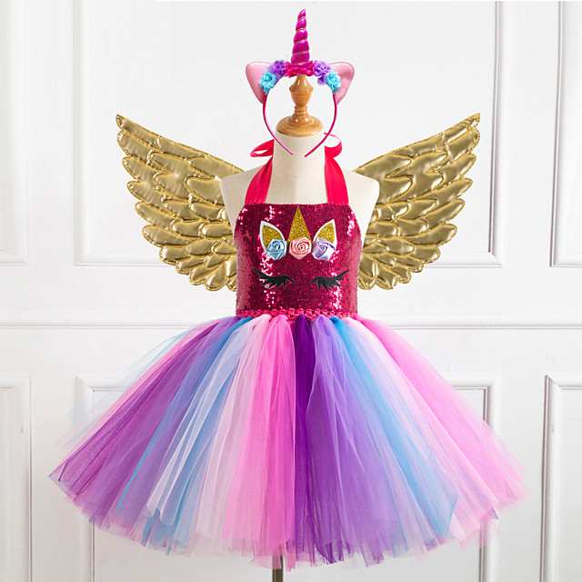 Unicorn Dress Wings Costume Girls' Movie Cosplay Tutus Braided / Cord Vacation Dress Golden / Silver / Rainbow Dress Wings Headwear Christmas Halloween Carnival Polyester / Cotton Polyester