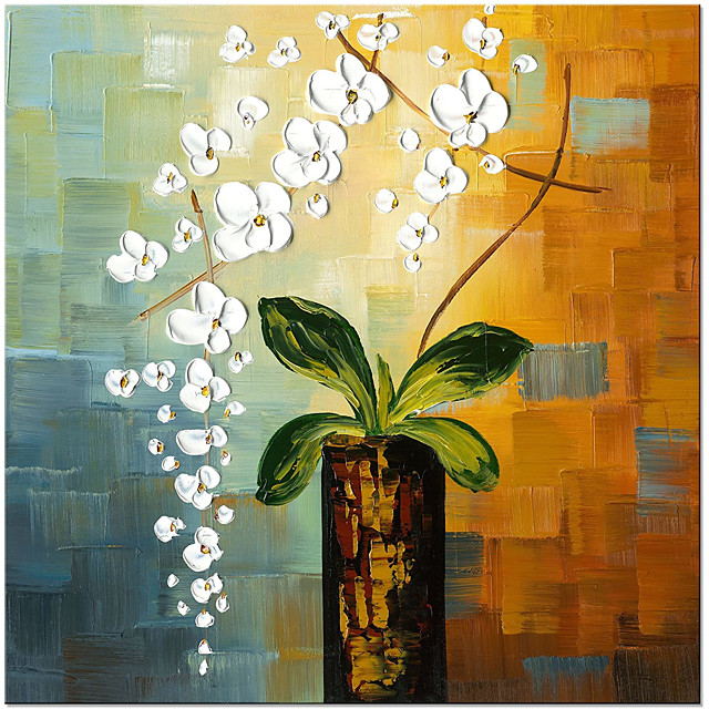 Beauty of Life 100% Hand-Painted Modern Flower Artwork Abstract Floral Oil Paintings on Canvas Wall Art for Home Decorations Wall Decor Rolled Without Frame