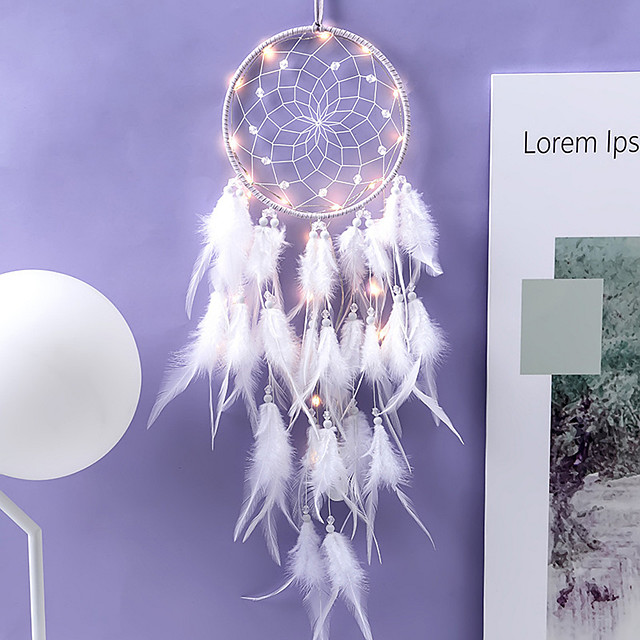 Innovative Dream Catcher Pendant Hand-Woven Ornaments Handmade Birthday Gift Dreamcatcher with Lights Home Room Decoration