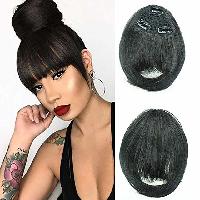clip in bangs natural black bangs clip in fringe hair extensions  with temples natural color for women