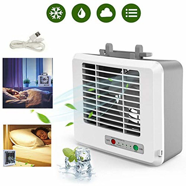 personal air cooler, mini portable air conditioner fan noiseless evaporative 3 speeds air humidifier for room