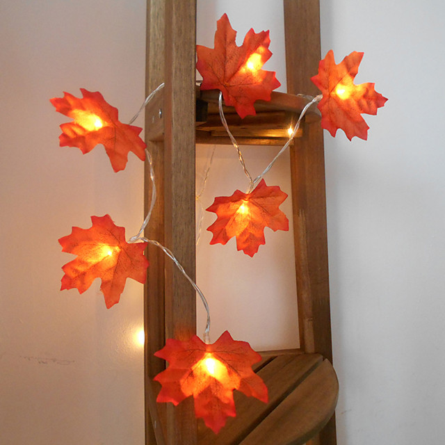 3M 20LED Maple Leafs LED String Lights Battery Operated Fairy Light Christmas Wedding Garden Party Family Party Stair Railing Room Decoration Without Battery