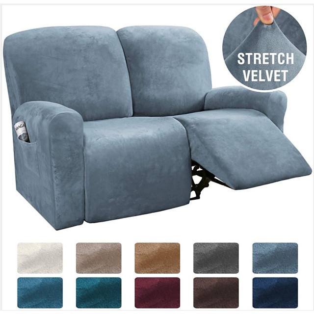 Sectional Recliner Sofa Slipcover 1 Set of 6 Pieces Microfiber Stretch High Elastic High Quality Velvet Sofa Cover Sofa Slipcover for 2 Seats Cushion Recliner Sofa Furniture Protector
