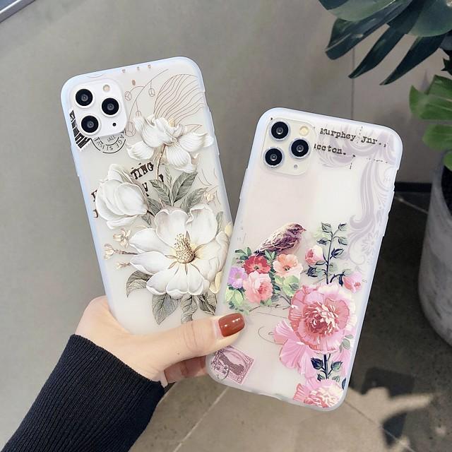 Case For  iPhone 5 5C 5S SE 6 6s 7 8 6plus 6splus 7plus 8plus X XR XS XSMax SE(2020) iPhone 11 11Pro 11ProMax Ultra-thin Transparent Pattern Back Cover Animal Flower TPU