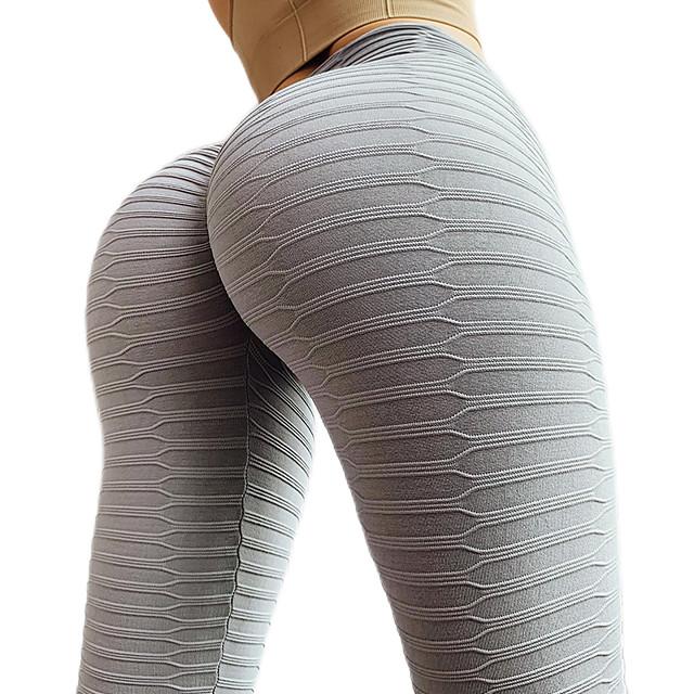 γυναικεία ψηλή μέση γιόγκα παντελόνι tiktok leggings scrunch butt ruched butt lifting jacquard tummy control white black yellow spandex fitness gym workout running sports activewear skinny high ελαστικότητα