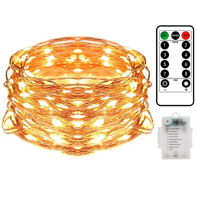 20M 200LED Waterproof Remote Control 8 Function Copper Wire LED String Lights Outdoor String Lights AA Battery-Powered Fairy Light Christmas Wedding Birthday Family Party Room Decoration Without Batte