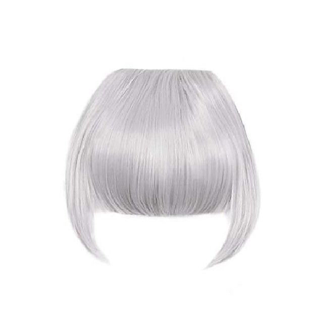clip in bangs fringe hair extensions with temples synthetic fashion hair-pieces sliver grey