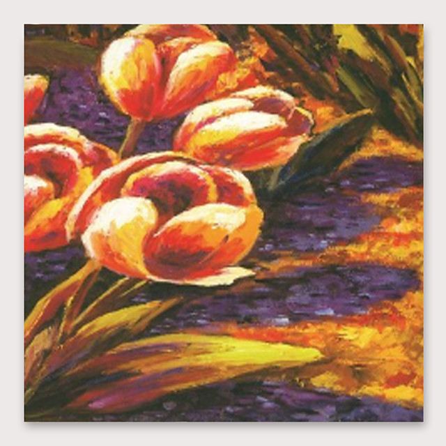 IARTS Hand Painted tulips Oil Painting with Stretched Frame For Home Decoration With Stretched Frame