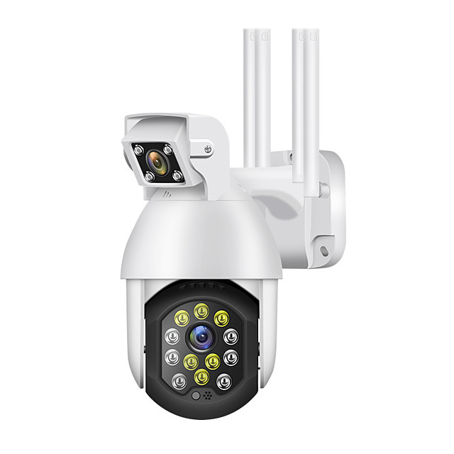 1080P IP Camera Outdoor Dual Lens PTZ Wifi Camera Bidirectional Audio 12 Led Infrared Night Vision Automatic Tracking Home Security Monitoring Camera