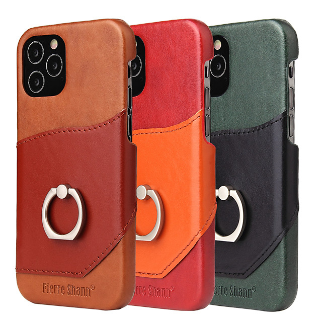 Case For iPhone 6plus 6splus 7plus 8plus XR XSMax iPhone 11  11ProMax iPhone 12 Card Holder Shockproof Ring Holder Back Cover Tile Genuine Leather TPU
