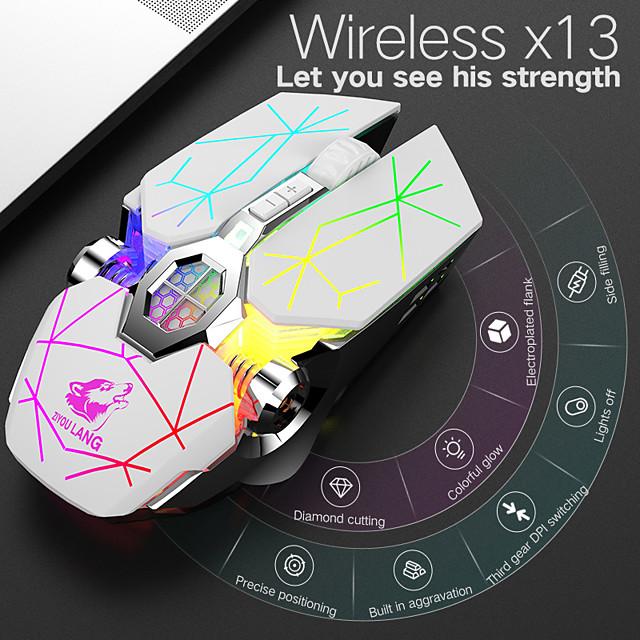 litbest x13 беспроводная связь bluetooth беспроводная 2.4g оптическая игровая мышь аккумуляторная мышь многоцветная подсветка 2400 точек на дюйм 3 регулируемые уровни dpi 6 ключей