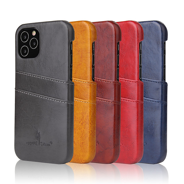 Case For iPhone 6 6s 7 8 6plus 6splus 7plus 8plus X XR XS XSMax SE(2020) iPhone 11 11Pro 11ProMax iPhone 12 Card Holder Shockproof  Back Cover Solid Colored PU Leather PC