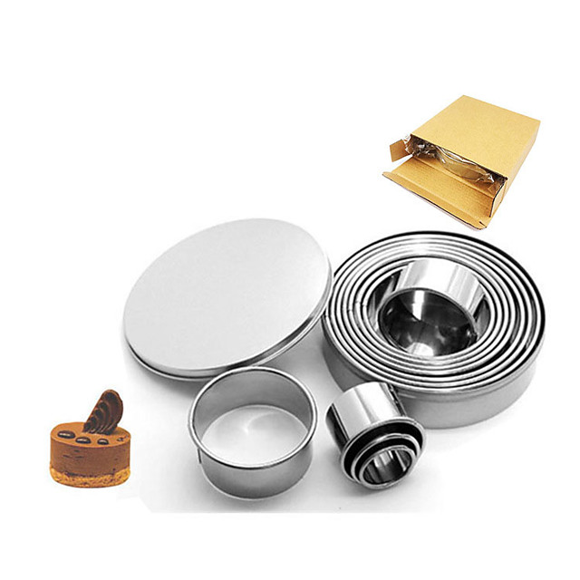 Stainless Steel Mousse Circle 12 Piece Set 304 Round Cake Mould Doughnut Sugar Turning Biscuit Mould Baking Tool